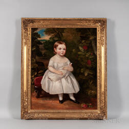 American School, 19th Century      Portrait of a Girl with Her Doll in a Landscape
