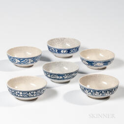 Six Dedham Pottery Cereal Bowls