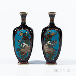 Pair of Small Black Cloisonné Vases