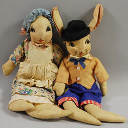Two Georgene Averill Cloth Character Dolls