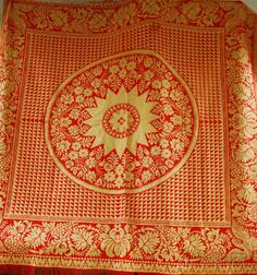 Red Wool and White Cotton Woven Coverlet with American Eagle Corners and a,   Turned Wood Ring Toss Game with Acorn Finial
