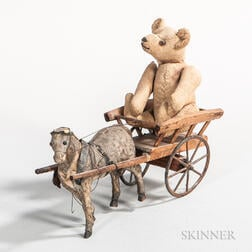 Miniature Articulated Teddy Bear in a Miniature Horse-drawn Cart