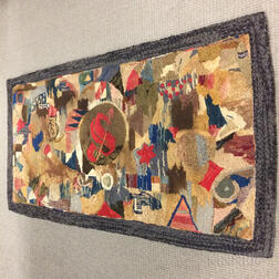 Large Abstract Hooked Rug