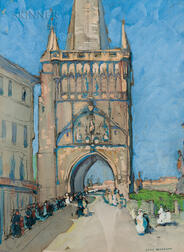 Jane Peterson (American, 1876-1965)      Bridge Tower, Prague