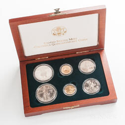 Cased 1992 Columbus Quincentenary Six-coin Proof and Uncirculated Set