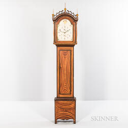 Grain-painted and Paint-decorated Tall Case Clock