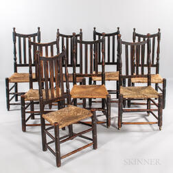 Assembled Set of Eight Bannister-back Chairs