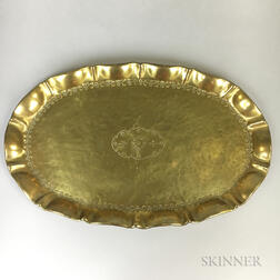 German Arts and Crafts Hand-hammered Brass Tray
