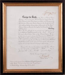 George VI, King of the United Kingdom (1936-1952) Document Signed, 1 January 1943.