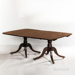 Classical Mahogany Triple-pedestal Dining Table