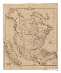 North America, California, Texas, Gold Rush. John Calvin Smith (fl. circa 1829-1855) Map of North America.