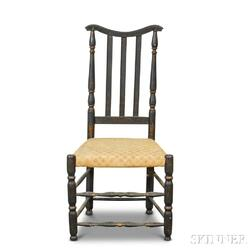 Black-painted and Gold-accented Bannister-back Side Chair
