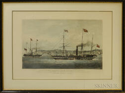 Two Framed Hand-colored Engravings of Steamships
