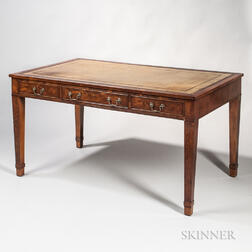 Yew-wood Veneered Partners Desk