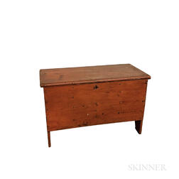 Small Red-painted Pine Six-board Chest