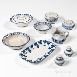 Nine Pieces of Dedham Pottery Rabbit Pattern Tableware and a Grape Pattern Celery Dish