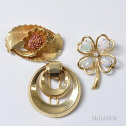 Three 14kt Gold Brooches
