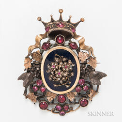 Large Gilt-silver, Gemstone Cabochon, Diamond, and Enamel Brooch