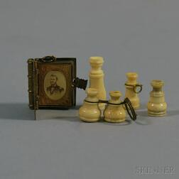 Four Stanhopes or Peep-eye Viewers, and a Miniature Brass Album with Photos of Lincoln and   Civil War Figures