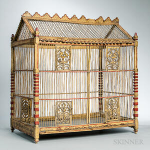 Paint-decorated and Carved Wood and Wire Birdcage