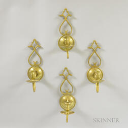 Set of Four Historic Williamsburg Brass Wall Sconces