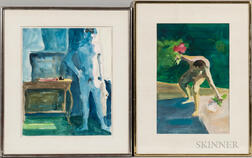 Paul Wonner (American, 1920-2008)      Two Works on Paper: Male Nude, Poolside