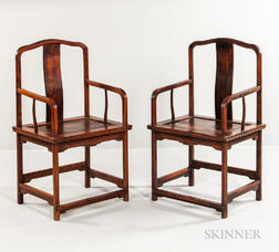 Pair of Hardwood Armchairs