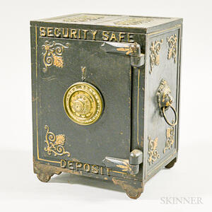 Small Painted Cast Iron Toy Safe