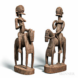 Two Dogon-style Carved Wood Equestrian Figures