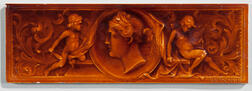 American Encaustic Tile Co. Art Pottery Tile with a Portrait of a Woman and Cherubs