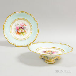 Pair of Davenport Floral-decorated Porcelain Compotes