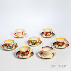 Seven Clarice Cliff Cups and Saucers