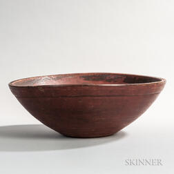 Red-painted Turned Maple Bowl