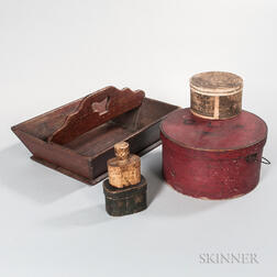 Red-painted Pantry Box, Three Paper-covered Boxes, Boxed Loupe, and a Large Cutlery Tray