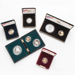 Eight U.S. Commemorative Gold and Silver Coins