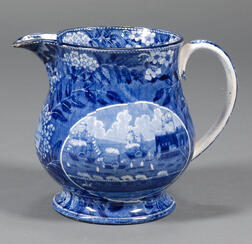 """Historic Transfer-decorated Staffordshire """"Landing of LaFayette"""" Pitcher"""