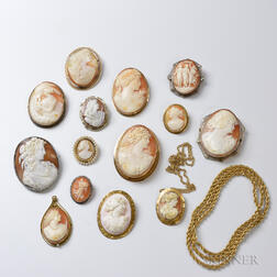 Approximately Fourteen Shell Cameo Brooches and Pendants