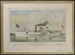 Framed J.H. Bufford Hand-colored Lithograph of the Steamship Edward Everett