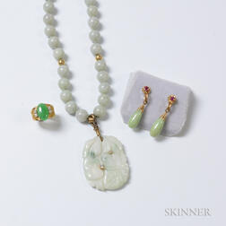 Jadeite Beaded Necklace with Diamond-set Pendant, Pair of 14kt Gold, Jadeite and Ruby Earrings, and a Hardstone Ring