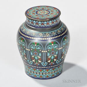 Russian .917 Silver and Champleve Enamel Tea Caddy