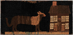 Early Hooked Rug Depicting a Panther