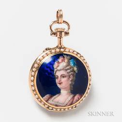 Swiss 14kt Gold and Enamel Pocket Watch Pendant