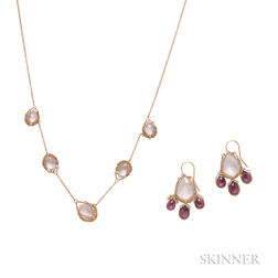 18kt Gold Gem-set Necklace and Earrings, Anthony Nak