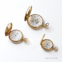Two Antique 14kt Gold Pocket Watches and a Gold-filled Pocket Watch