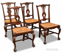 Set of Four Chippendale-style Mahogany Chairs