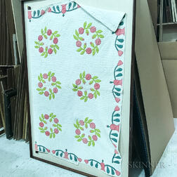 Framed Floral Appliqued Cotton Quilt