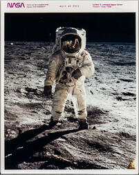 Apollo 11, Buzz Aldrin on the Surface of the Moon, the Visor Photograph, July 11, 1969.