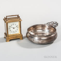 Silver-plated Porringer and a Small Waterbury Carriage Clock