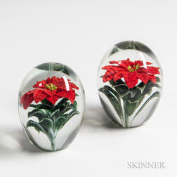 Two Orient and Flume Poinsettia Paperweights