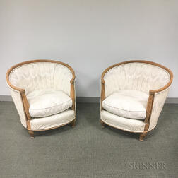 Pair of Art Deco Upholstered Fruitwood Club Chairs